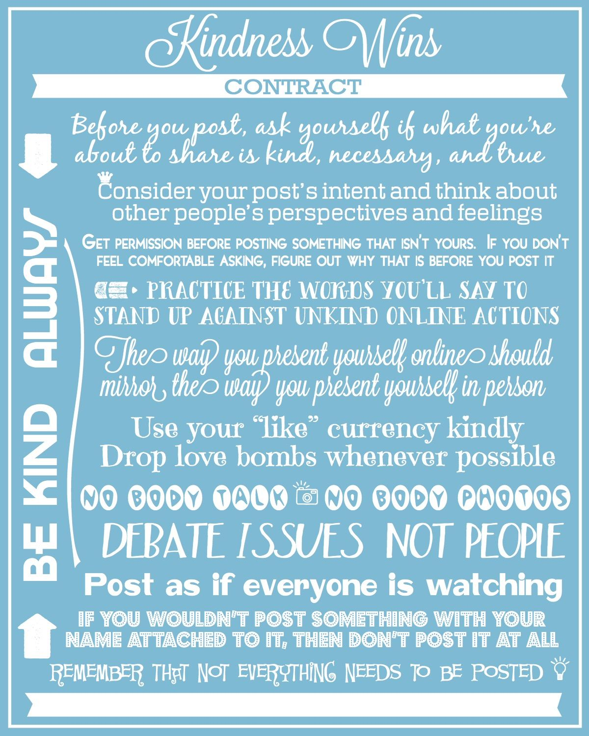 Kindness Wins Contract | Pinterest