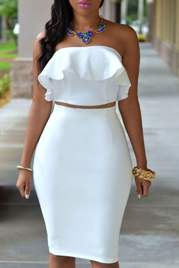 Dress outfits · Ruffled Tube Top + High-Waisted Pencil Skirt Twinset