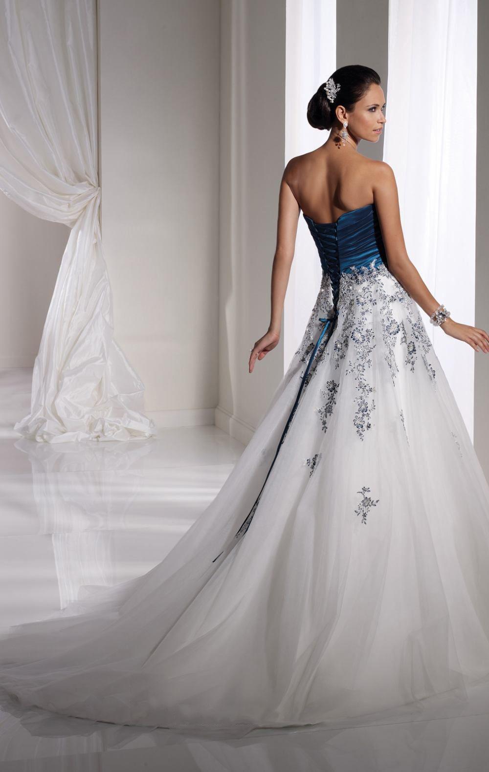 c34c878aff09 Empire Floor Length Strapless Dress White Blue Bandage Destination Wedding  Gowns 1153 Applique Flower [Weddingdresses002526] - £154.99 : Wedding  Dresses ...