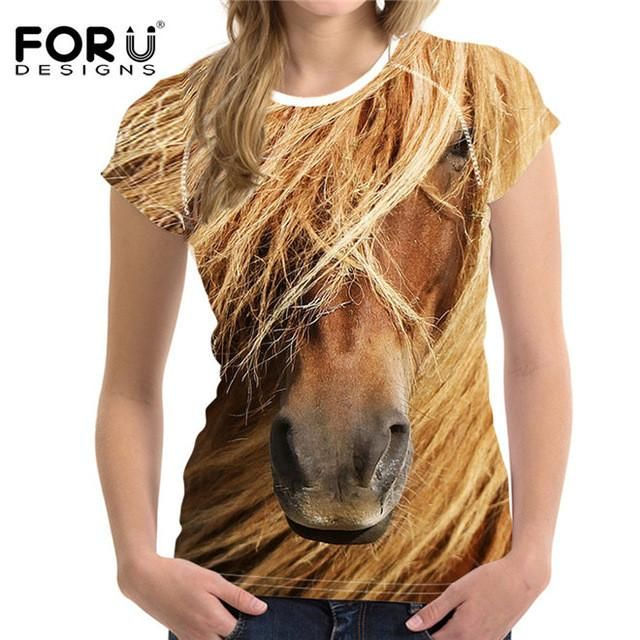 FORUDESIGNS Cool Horse Women T Shirt Summer Woman Tops Breathable Female Shirts For Girls Short Sleeved Tees T-Shirts