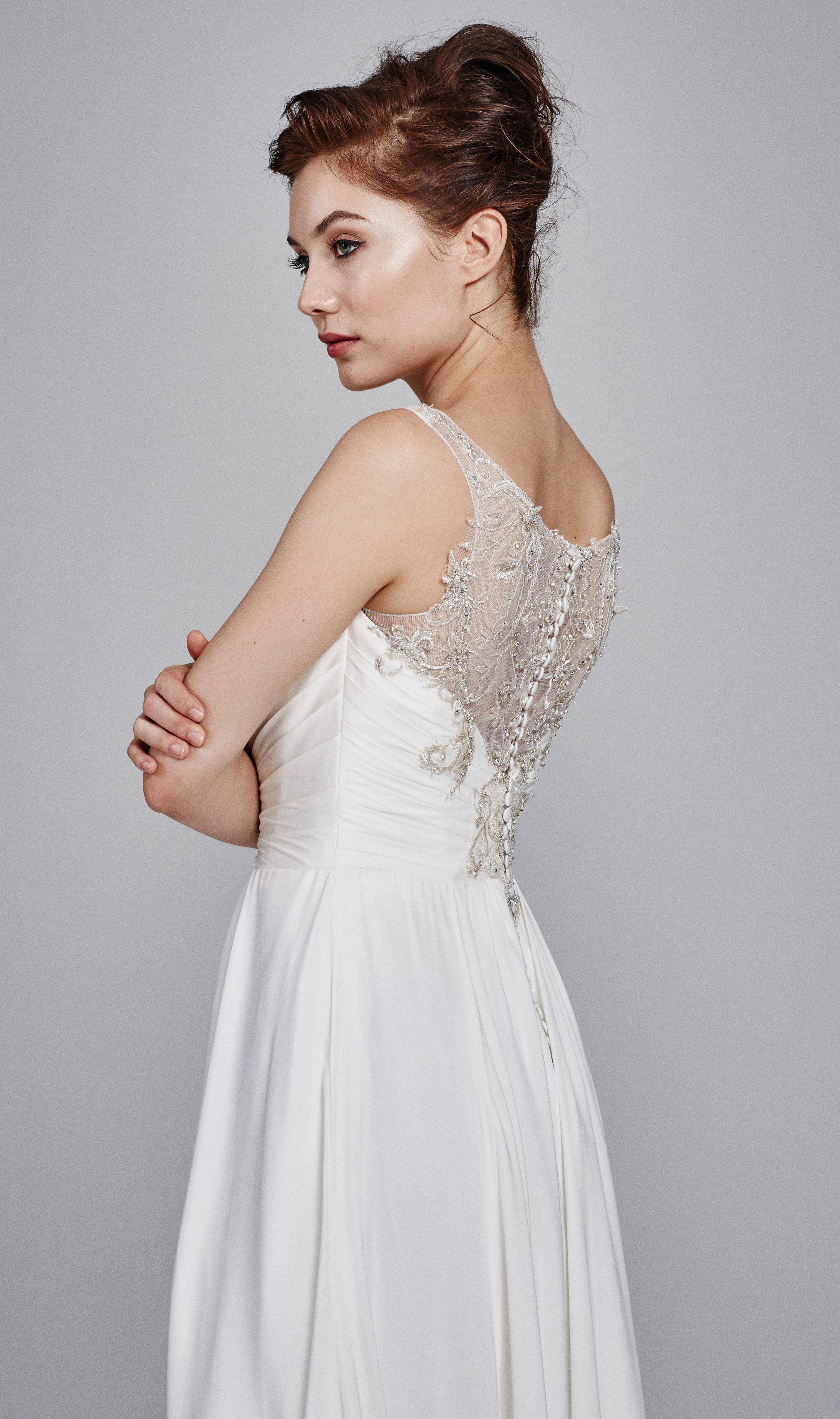 stretch silk crepe wedding dress