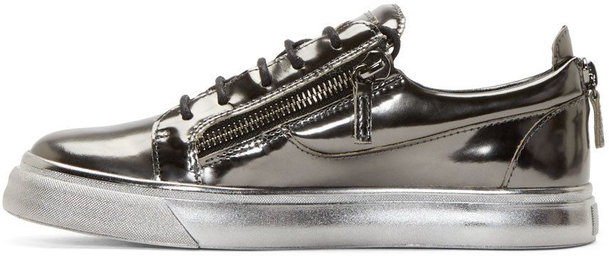 Giuseppe Zanotti: Grey Metallic Leather Sneakers | SSENSE