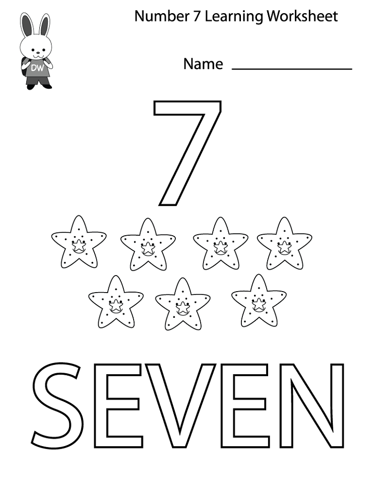 Number 7 Worksheets for Preschools | Activity Shelter | Alphabet and ...