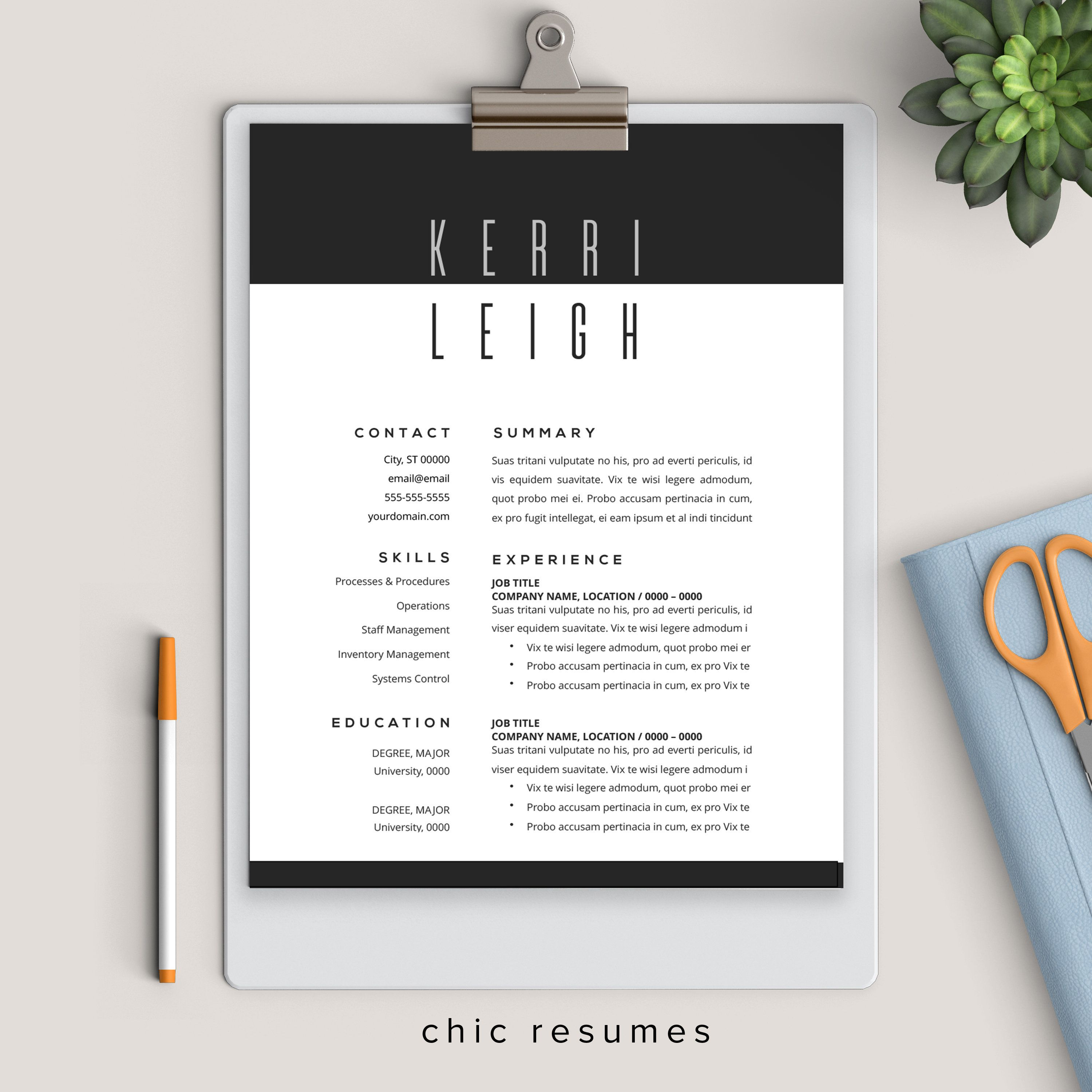 Modern black and white resume template resume template