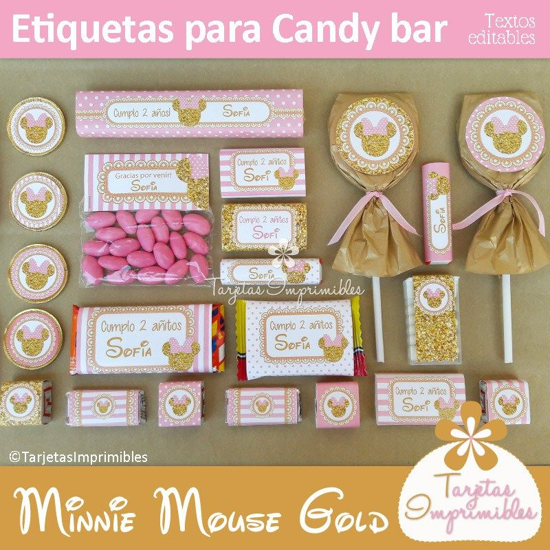 a798f9e73 Minnie Mouse Gold Etiquetas para candy bar | PAPELERIA | Candy bar ...