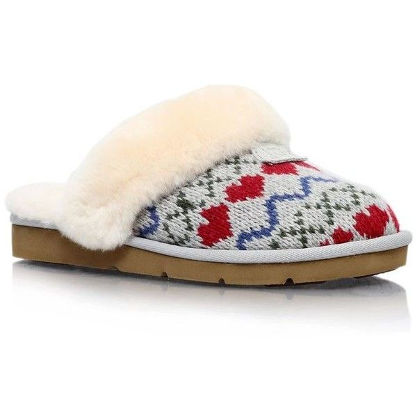 Ugg Cozy Knit Heart Shearling Slipper 370 Brl Liked On Polyvore