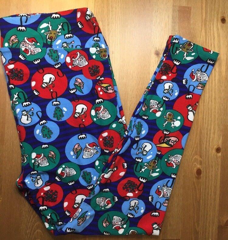 ce2476594e6e30 LuLaRoe TC2 Leggings Plus Holiday Christmas Blue Red Green Santa Snowman Elf  EUC #LuLaRoe #Leggings #Casual