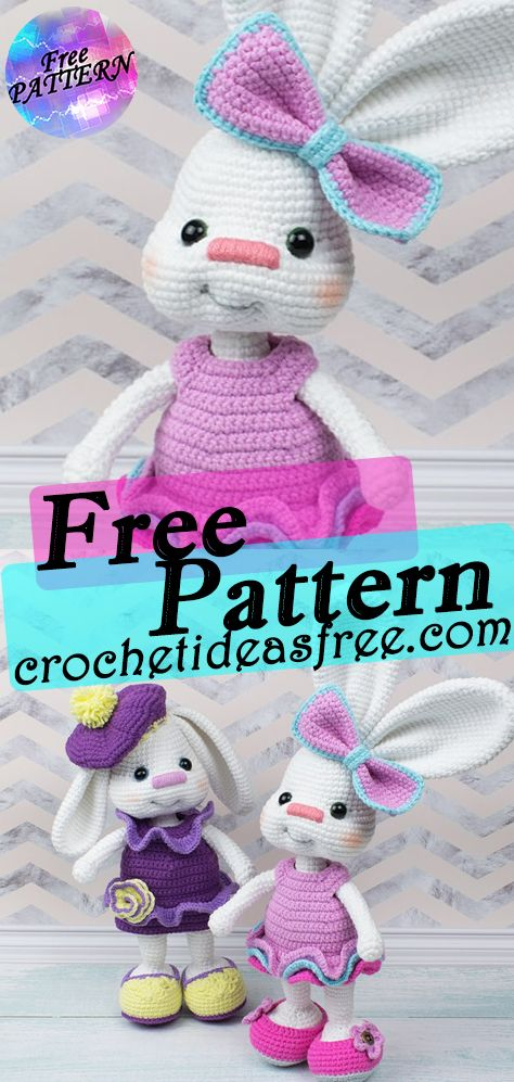 Pretty Bunny In Pink Dress Free Crochet Pattern #eastercrochetpatterns