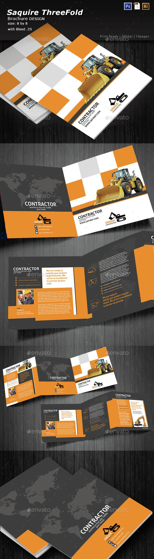 Construction TriFold Square Brochure  Brochures Tri Fold And