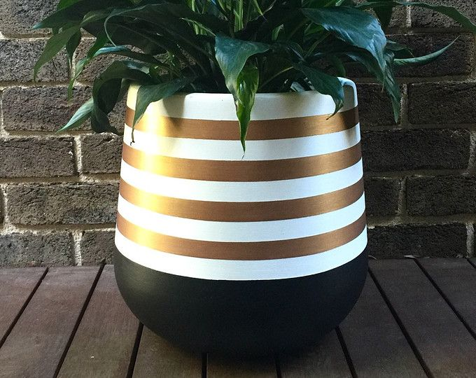 Hand Painted Lightweight Indoor Plant Pot Khaki Black Gold Avec