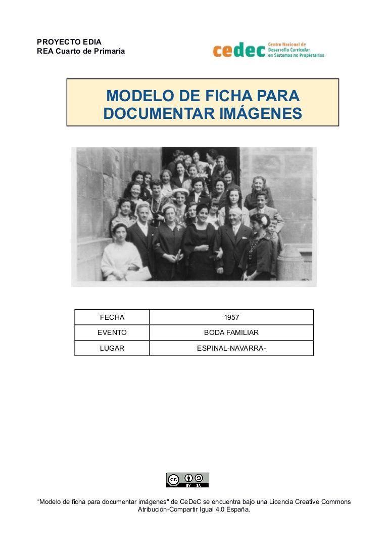 Modelo de ficha para documentar imágenes