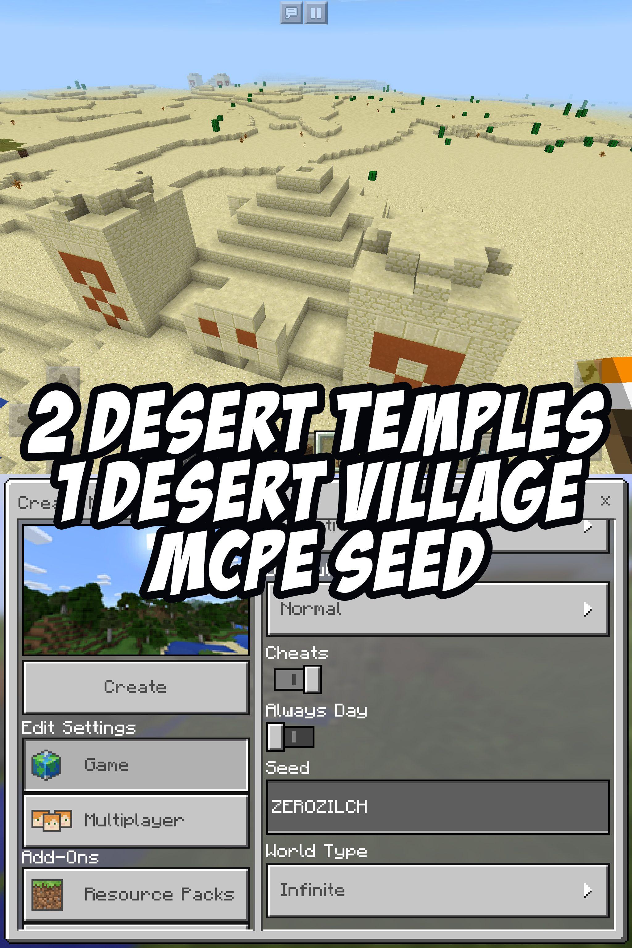 122 Desert Temples, 12 Desert Village. MCPE Seed: ZEROZILCH