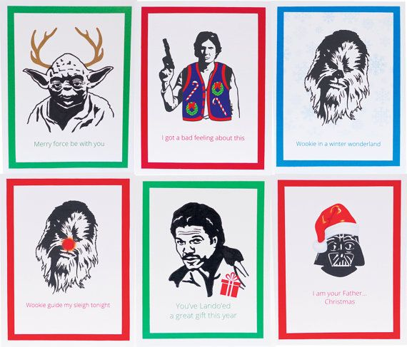 Set Of 6 Star Wars Christmas Funny Illustrated Cards Etsy Star Wars Christmas Cards Star Wars Christmas Funny Christmas Cards