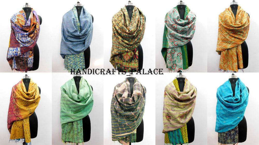 100 Pcs Wholesale Lot Vintage Silk Kantha Scarf Women Wear Neck Wrap Stole Shawl Fashion Clothing Shoes Accessories Wo Womens Scarves Vintage Silk Fashion