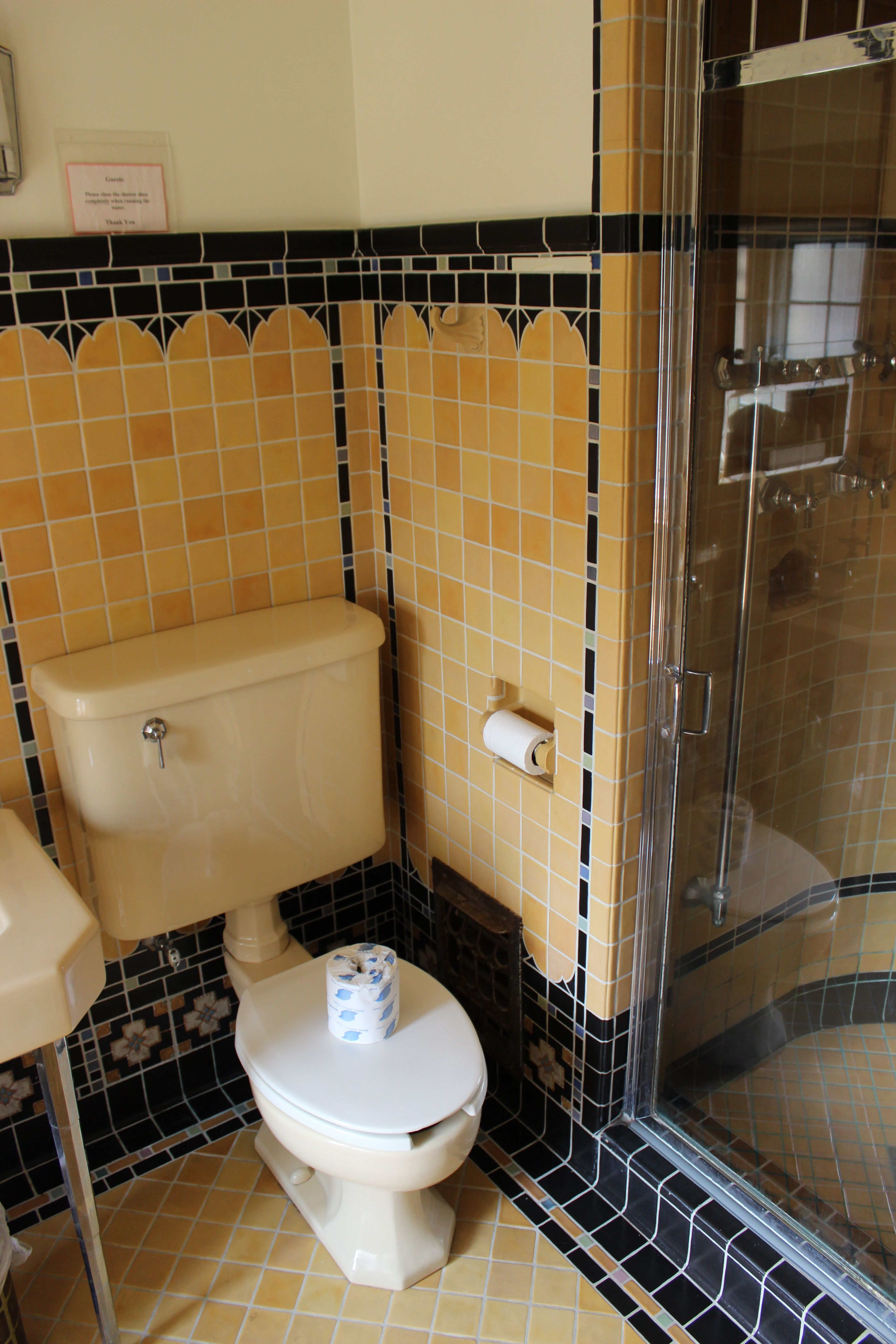 Love the tiles at olmstead manor bathrooms pinterest art deco