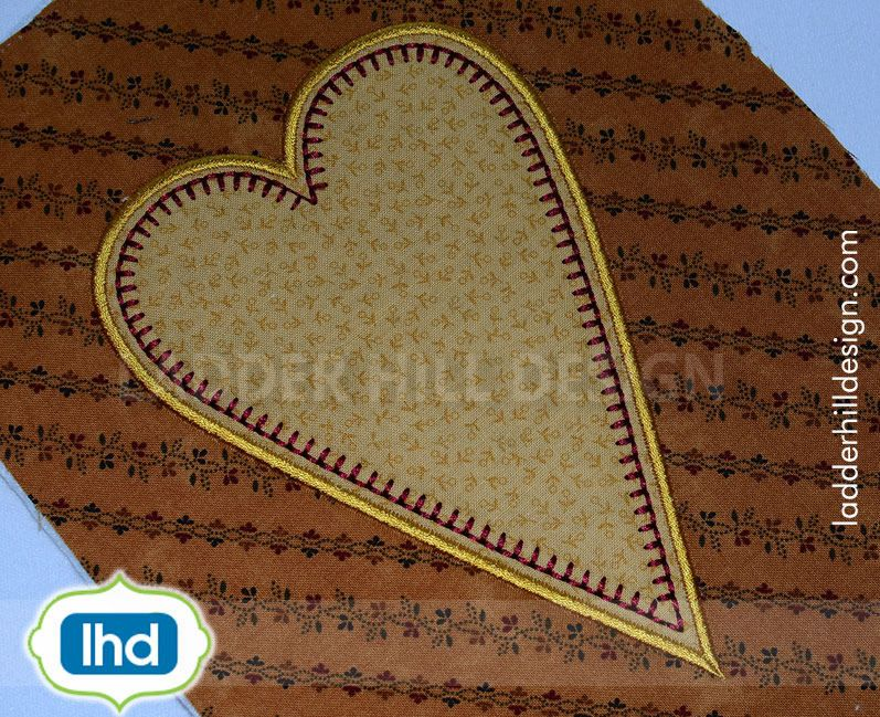 Primitive Embroidery - Primitive Heart Applique - Primitive Heart Applique Embroidery - Primitive Country Heart Applique -- Primitive Applique -- Primitive Machine Embroidery Design -- Primitive Heart Applique -- Primitive Country Heart Applique Design PRM005