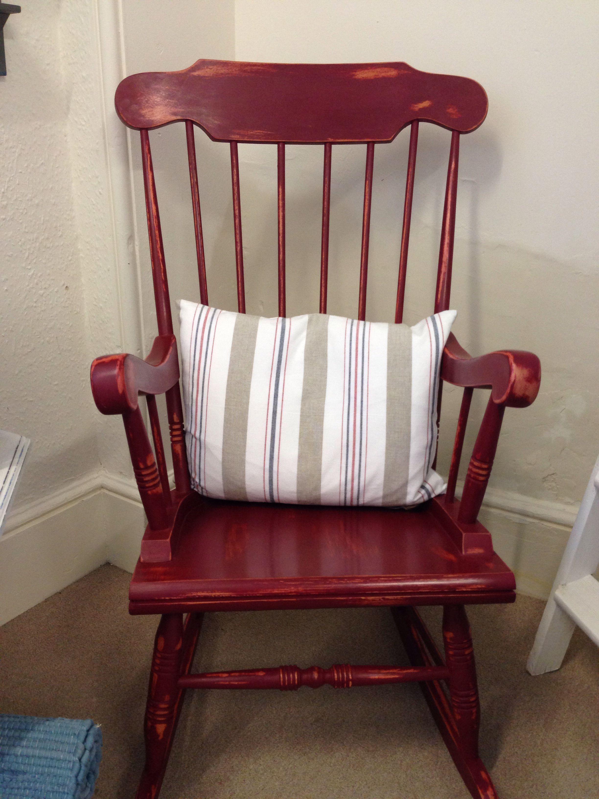 Rocking Chair In Annie Sloan Burgundy Chalk Paint Diy