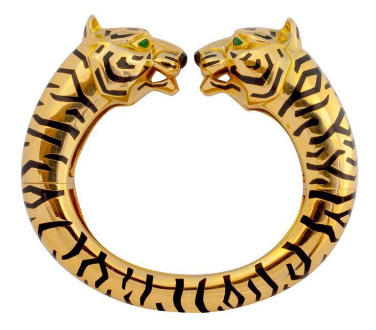 Tendance Bracelets  Rare Cartier Paris Barbara Hutton Style Gold Tiger Bangle