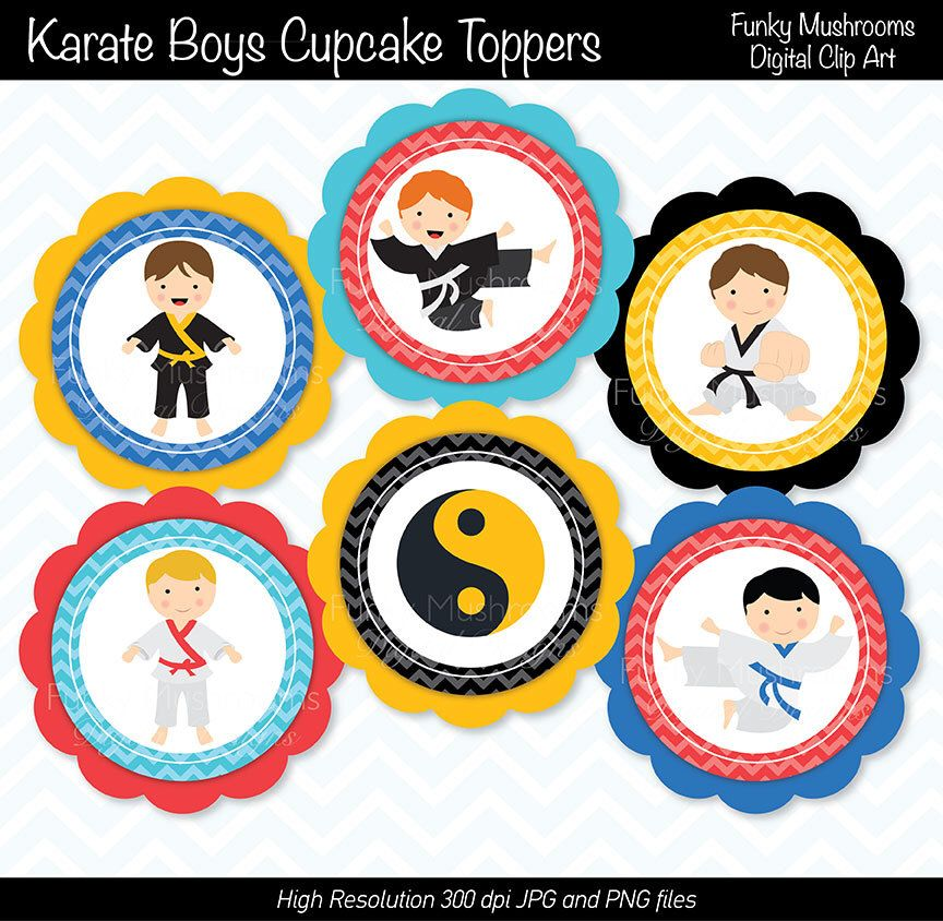 Karate Birthday Boy Cupcake Toppers and Wrappers-Printable PDF Download