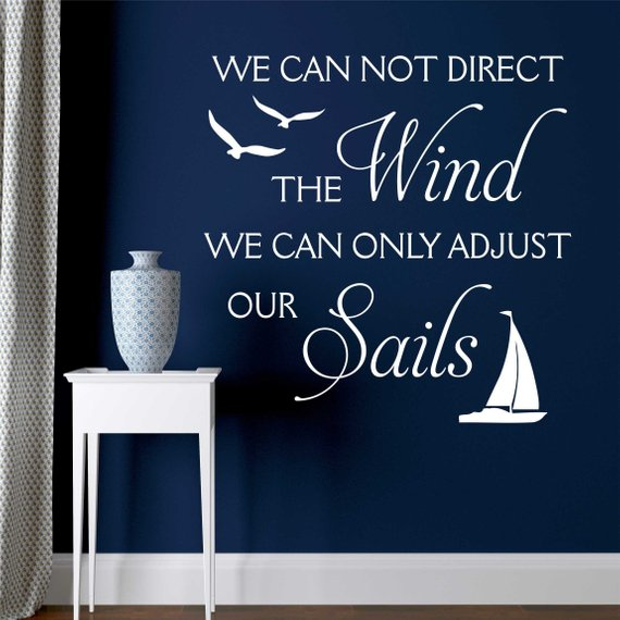 Photo of Motivational Wall Decal Direct Wind Adjust Sails, Nautical Vinyl Wall Lettering for Beach Theme Decor, Inspirational Wall Quote for Home
