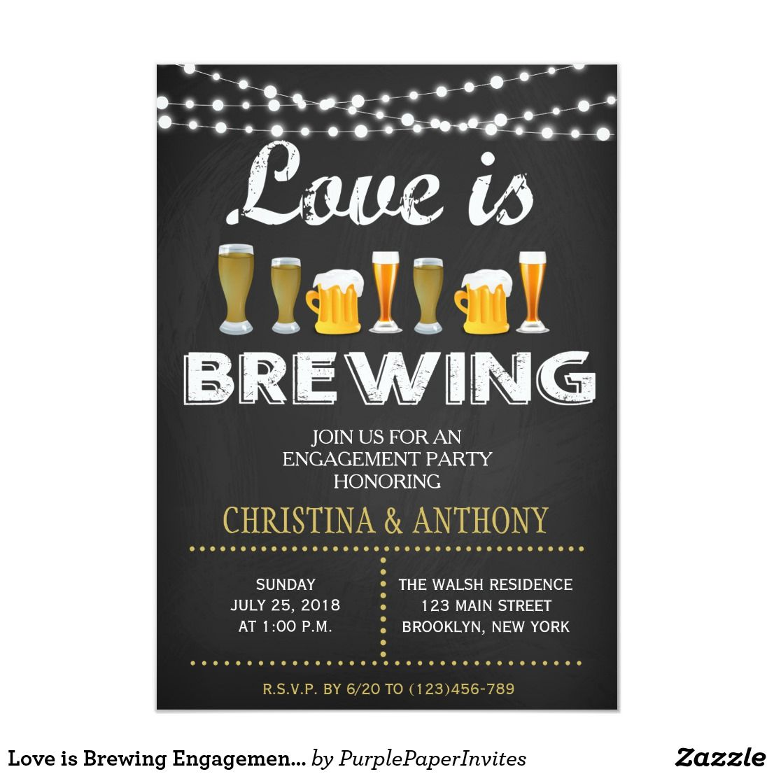 Love is Brewing Engagement Party Chalk Invitation | Zazzle.com