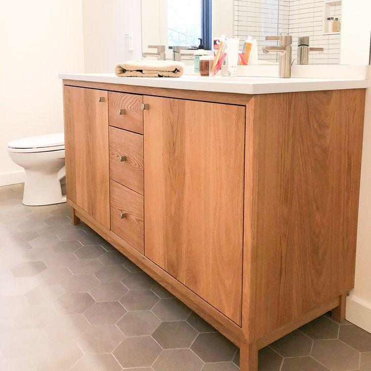 60 Modern White Oak Wood Vanity Double Sink Double Sink