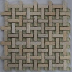 Glass Tiles :: Jerusalem Basketweave Stone&Glass - Korel's Design Tile Store