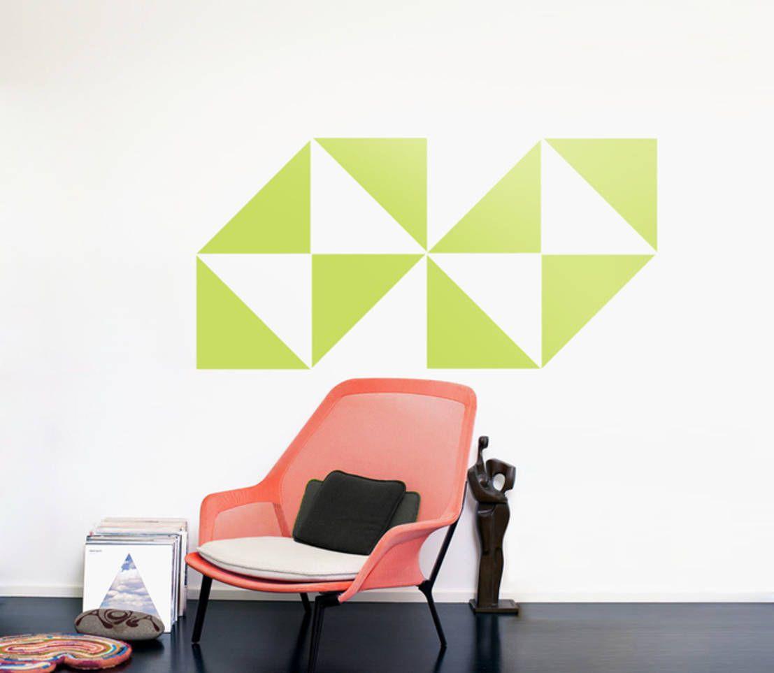 TRIANGLES | DREICKE M - Retro Deko Design DIY SET - Wandsticker - Muster : 미니멀리스트 서재 / 사무실 by Urban ART Berlin