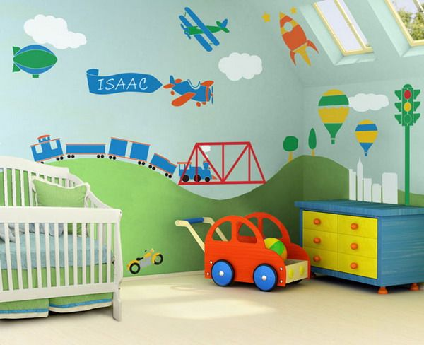 Kids / Nursery Wall Mural Self Adhesive Stencil Kit   Boys Room  Transportation Theme   Trains, Airplanes, Cars And More. Nice Ideas
