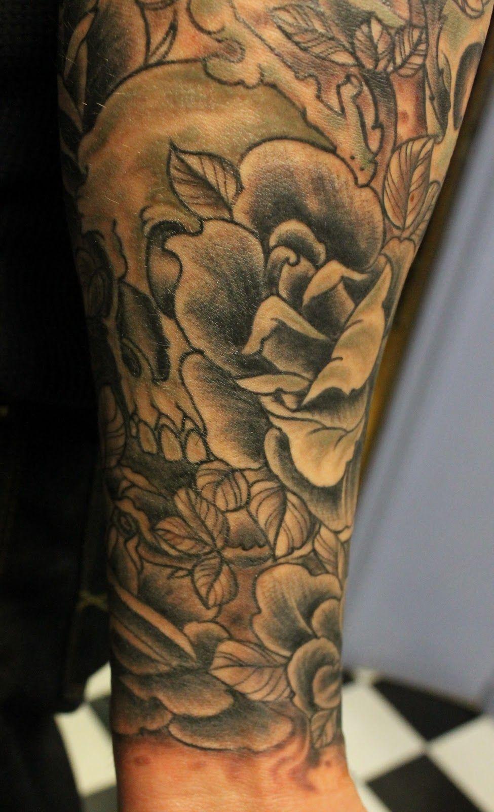 Skull and rose half sleeve tattoo ideas arms pinterest tattoos