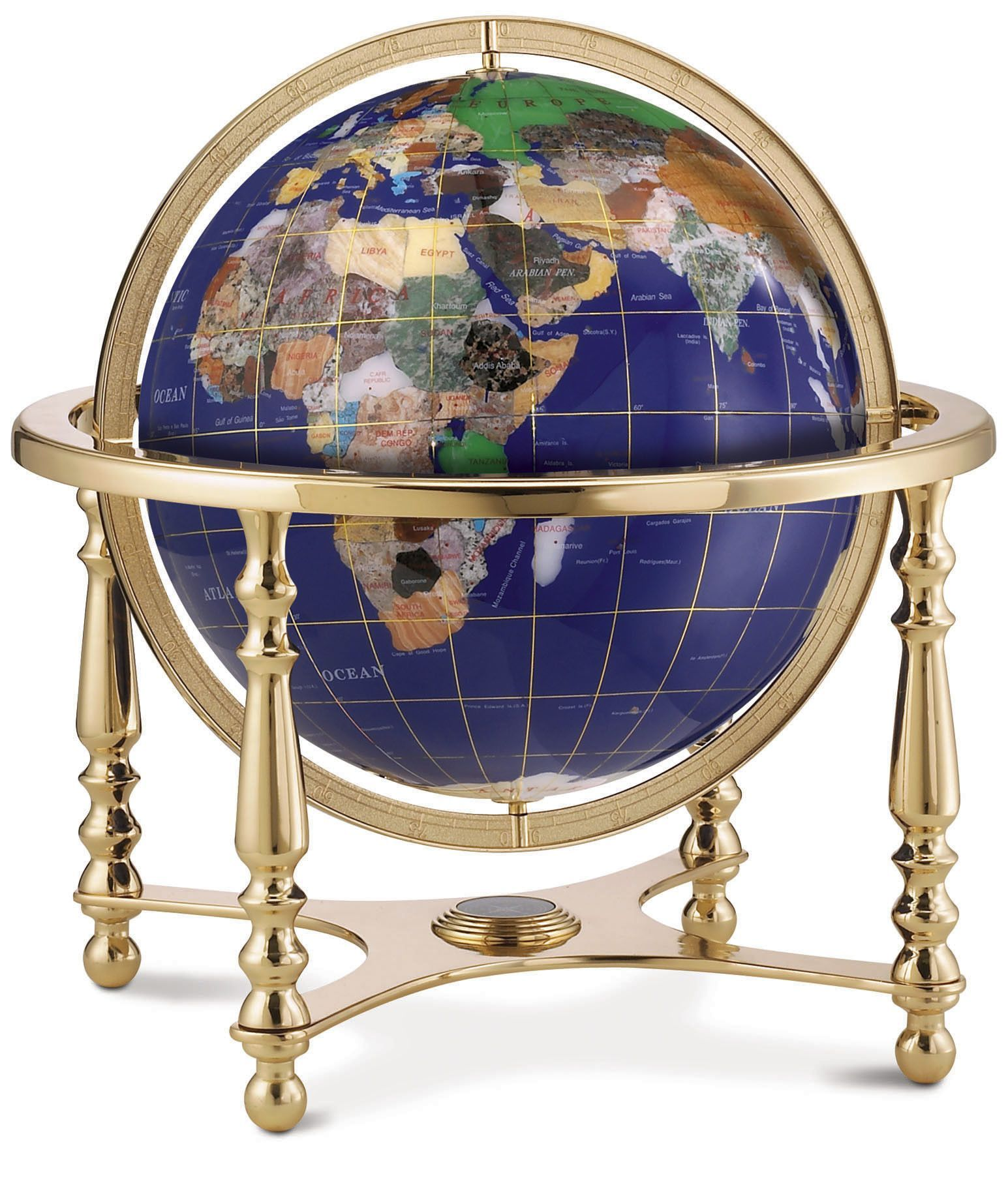 Features desk or tabletop gemstone globe beautifully inlaid features desk or tabletop gemstone globe beautifully inlaid with over 25 different semi precious hand carved gemstones displays lines of longitude and gumiabroncs Choice Image