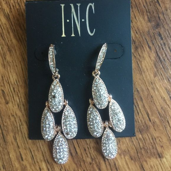 INC rose gold and rhinestone earrings. INC earring. New but one tiny stone is missing. INC International Concepts Jewelry Earrings