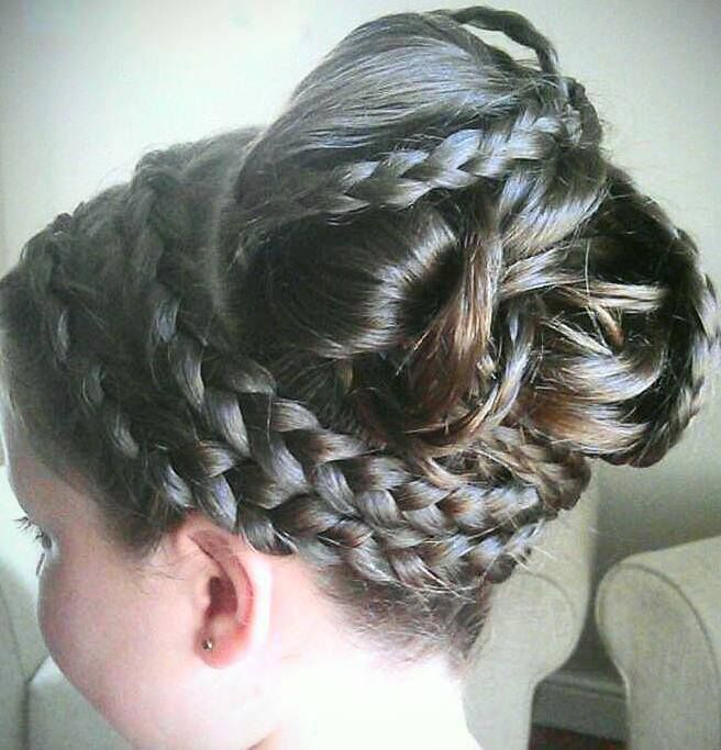 Very long thick hair. braided updo by Sandra Jones #party #hair #young #girls #girl #prom #christening #communion #bridesmaid #wedding #braids #plaits
