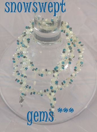 SNOWSWEPT GEMS..$19.99..smoky gray, aqua, pearl. INTERCHANGEABLE JEWELRY CHAINS that becomes a: lanyard, necklace, choker, belt, or eyeglass chain. Includes gift packs with all connector pieces needed.