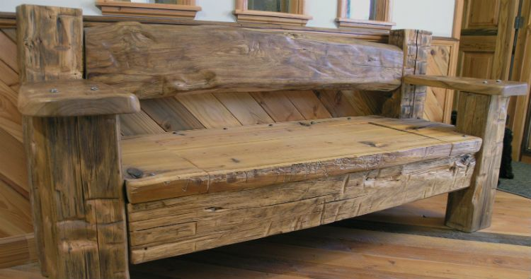 Porch Bench From Reclaimed Barn Wood.