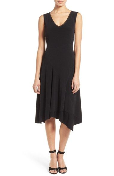 T Tahari 'Athena' Seam Detail Jersey V-Neck Fit & Flare Dress available at #Nordstrom