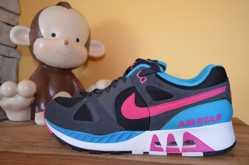 114bd0cef1d4 NEW NIKE AIR AIR STAB South Beach SZ 8.5 Black Blue Lagoon Hot Pink  312451-004