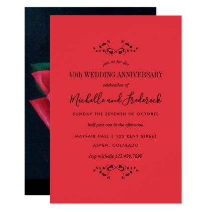 40th ruby wedding anniversary red rose invitation 40th ruby wedding anniversary red rose invitation wedding invitations diy cyo special idea personalize card stopboris Choice Image