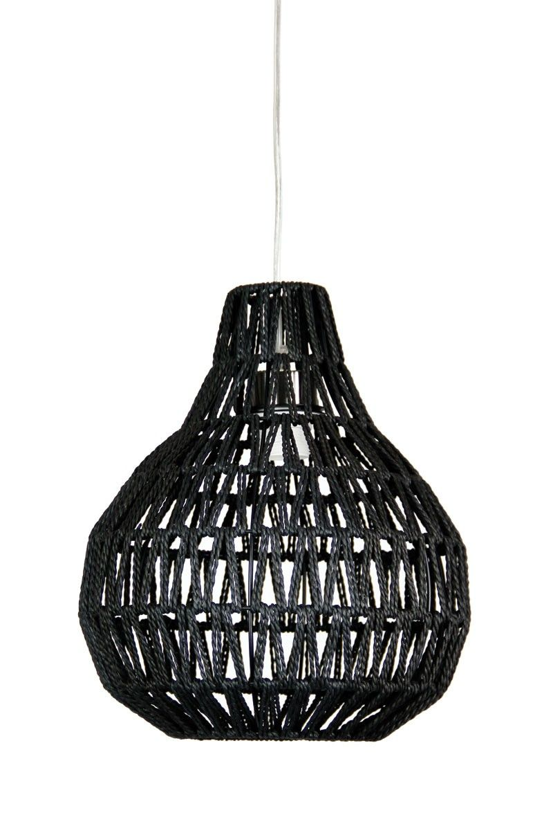 Pendant Light in Black or White E27 Woven String Shade 30cm or 45cm Cooper  Oriel |