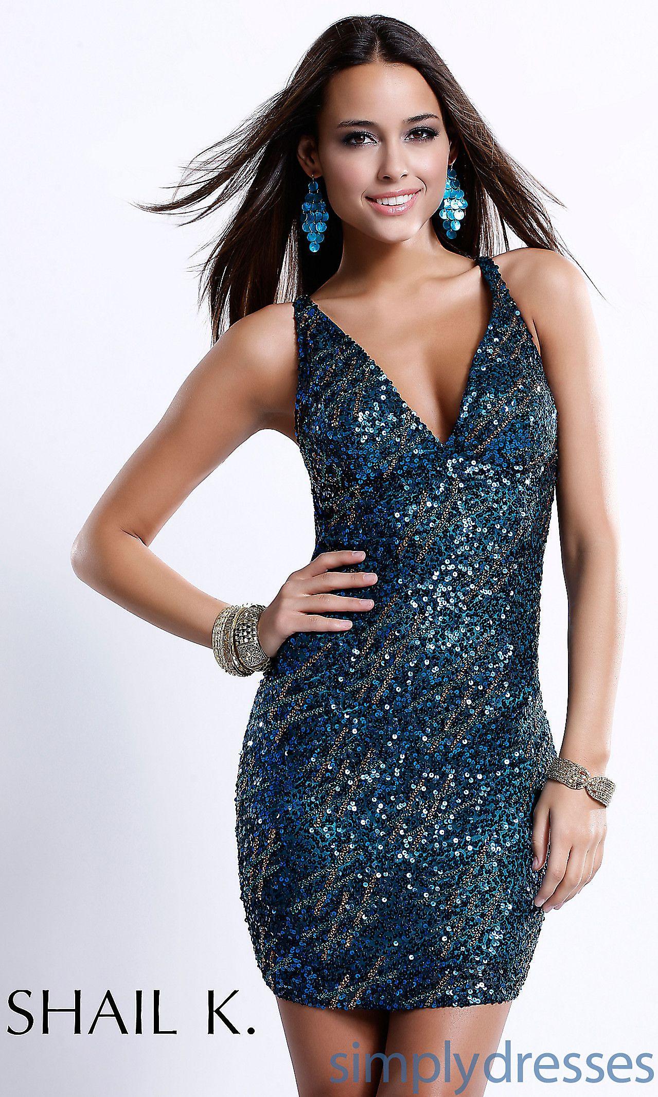 Short blue vneck sequin dress skkk fashion pinterest