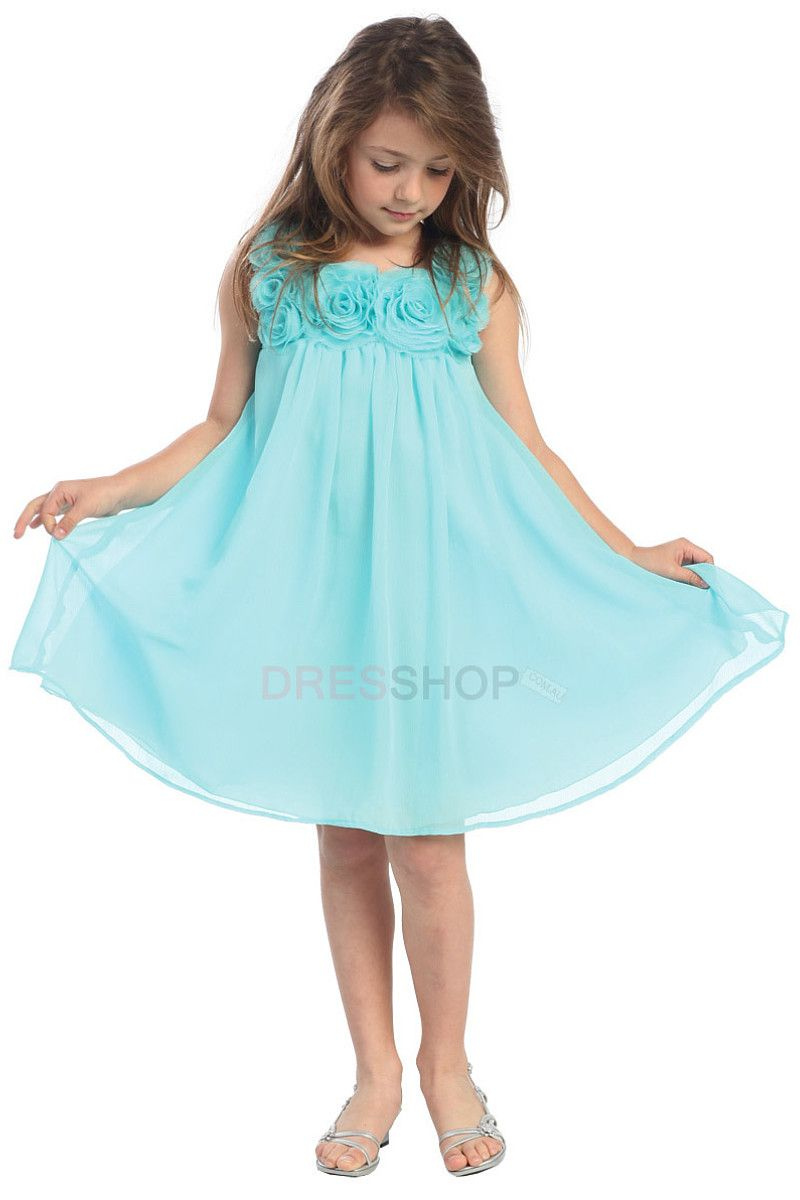 Empire Blue Square Chiffon Flower Girl Dresses- 30%-70% Off ...
