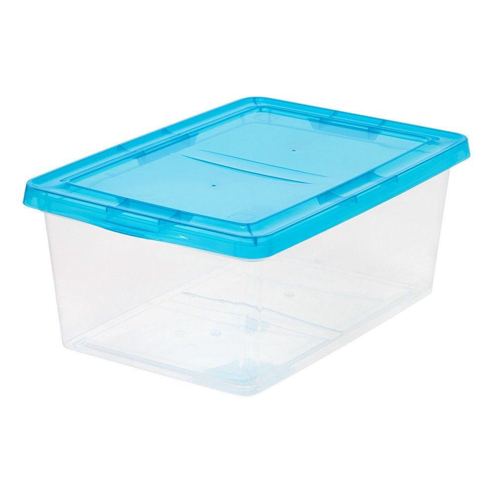 Iris 17qt Plastic Storage Bin - 2pk With Teal (Blue) Lid | Pinterest ...