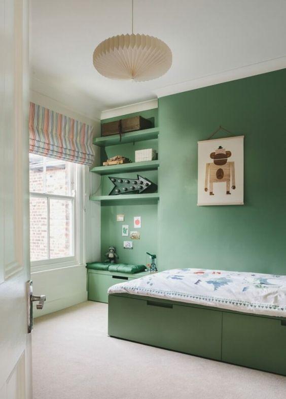 Grüne Schlafzimmer Dekor Ideen   Farbgestaltung im Schlafzimmer   32 Ideen für Farben   Bett ...