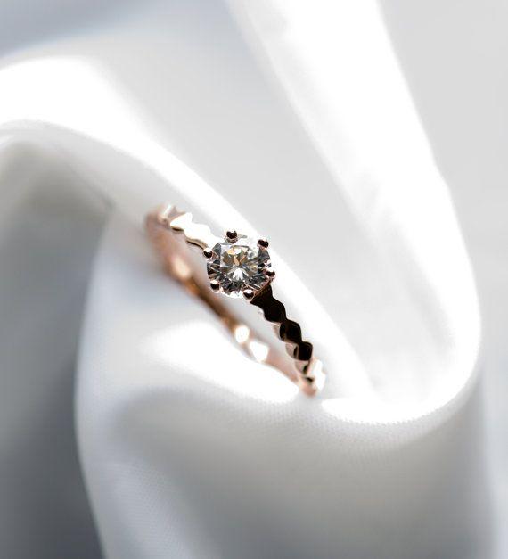 Solitär-Ring minimalistische Ring zierliche Ring von roseandchoc