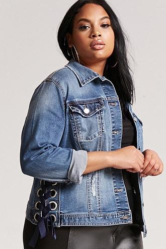 Plus Size Lace Up Denim Jacket Affordable Denim Denim Street Style Denim Jacket