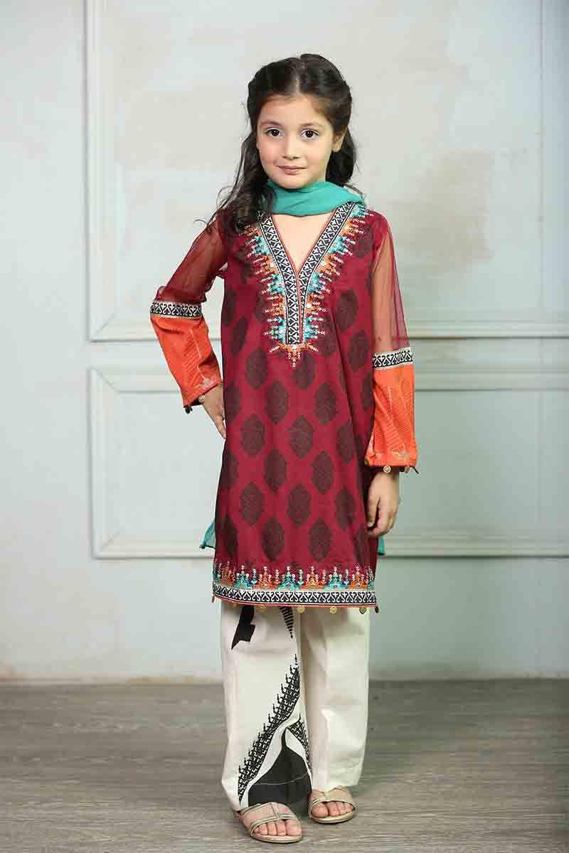 ae0ebd07af Latest little girls maroon and white kameez shalwar kurti Mariab kids party  dresses 2017 for wedding