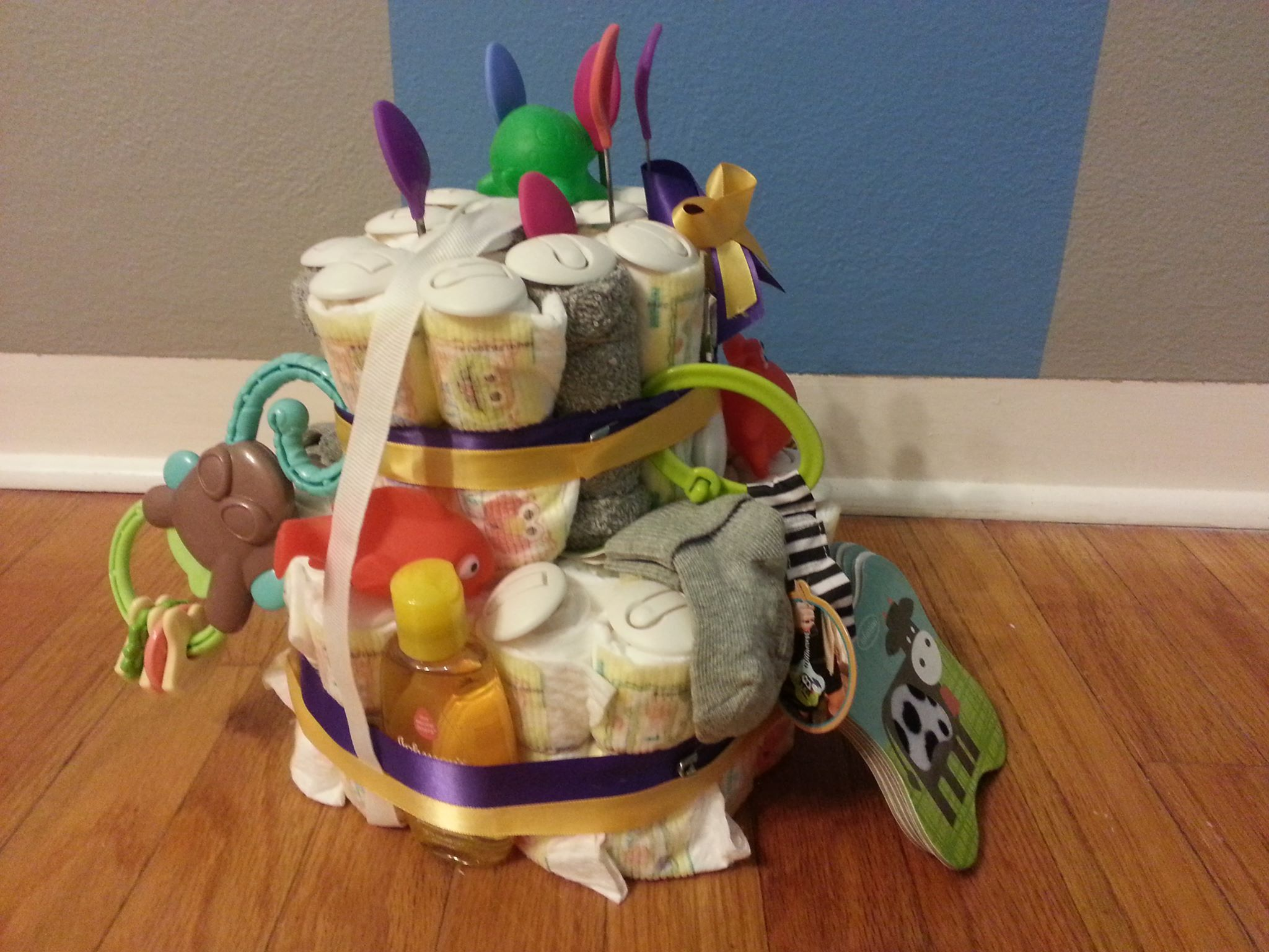 Another shot of the UNI diaper cake.