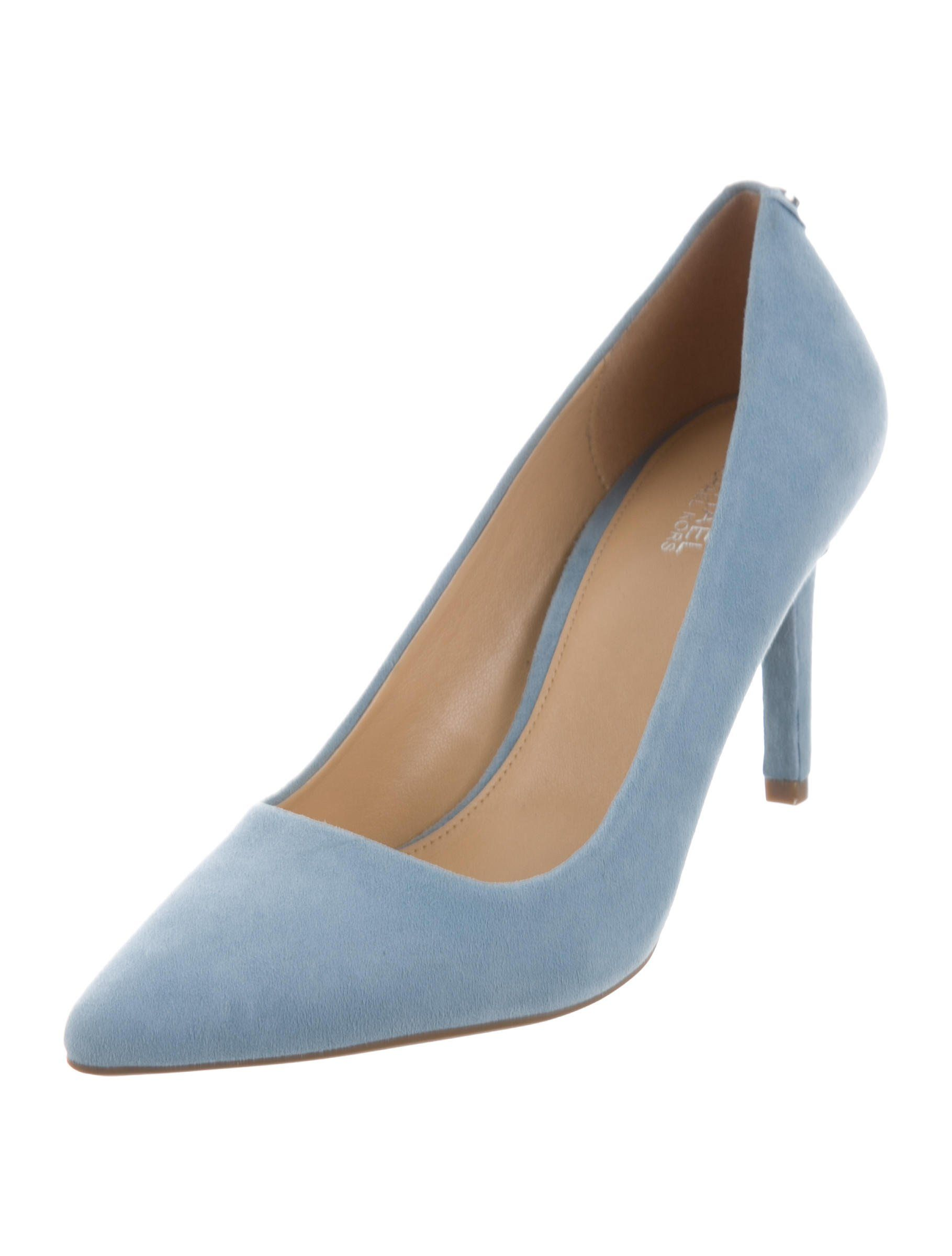 6684a3b816 Sky blue suede Michael Michael Kors Dorothy Flex pumps with pointed toes  and covered heels. Includes box.