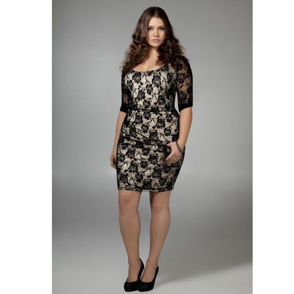Black lace dress with bow back and nude slip | Torrid