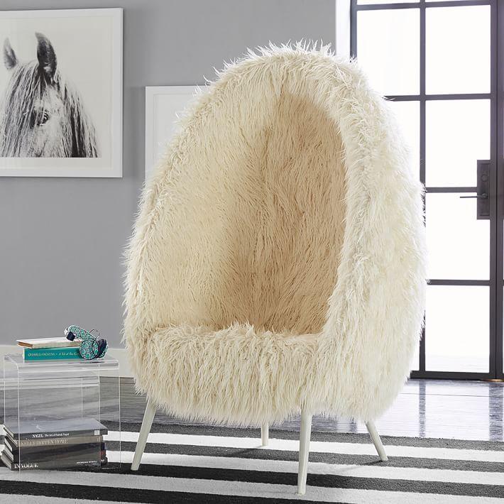 Ivory Furlicious Faux Fur Cave Chair In 2020 Cave Chair
